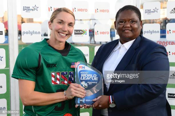 Best Goal Keeper Jackie Briggs of United States of America receives her award for Vice President of the South African Hockey Association Lwandile...