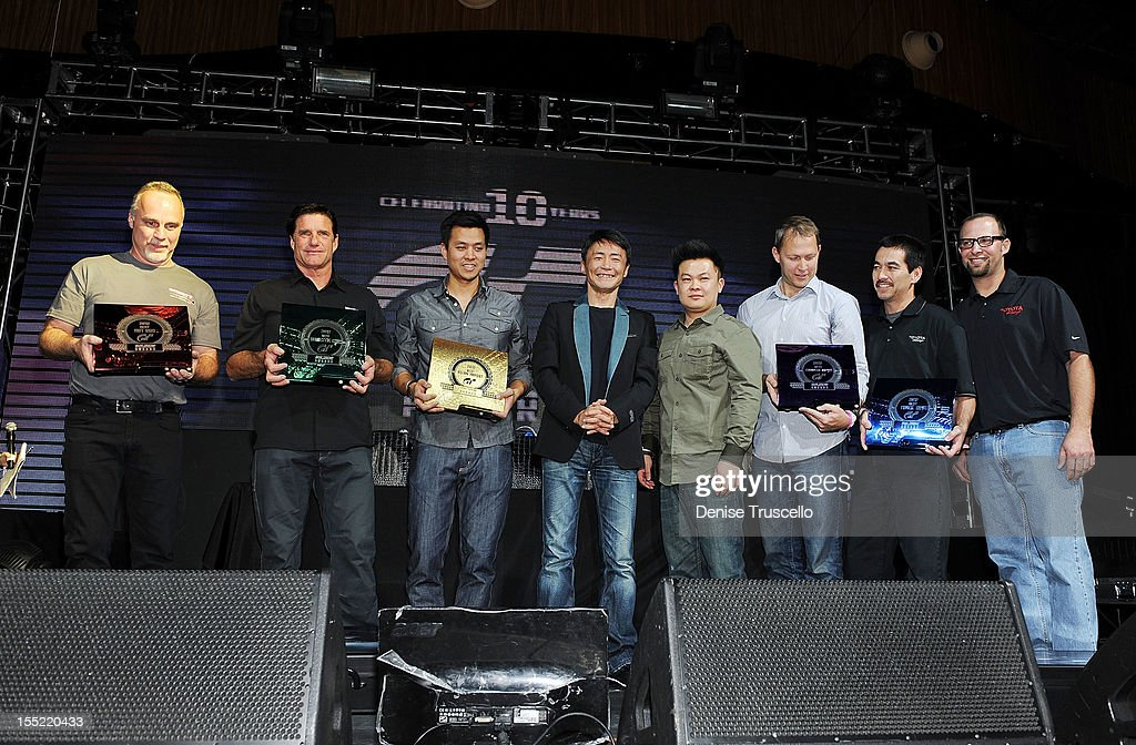 Best Hot Rod and Best in Show winner David Eckert, Best Domestic Auto Jim Holloway, Best Asian Import Felix Marcelino, Gran Turismo Creator Kazunori Yamauchi, Best European Import Jamie Vondruska and Best Truck/SUV Sean Morris during Playstation's 10th Annual Gran Turismo Awards at The Palms Casino Resort on November 1, 2012 in Las Vegas, Nevada.