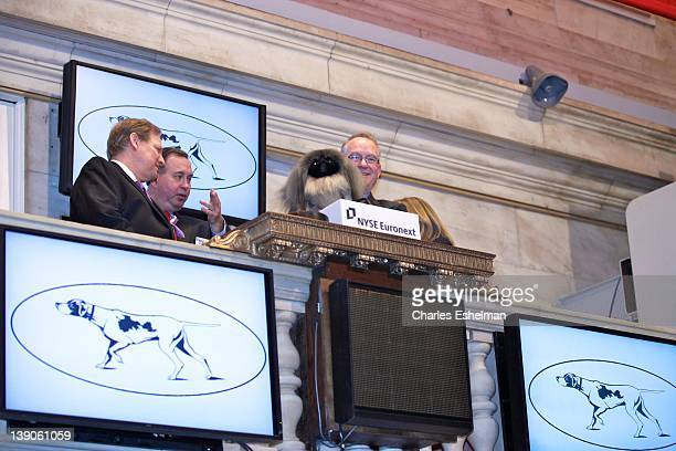 Best In Show Winner Malachy and dog owner David Fitzpatrick ring the opening bell at the New York Stock Exchange on February 16 2012 in New York City