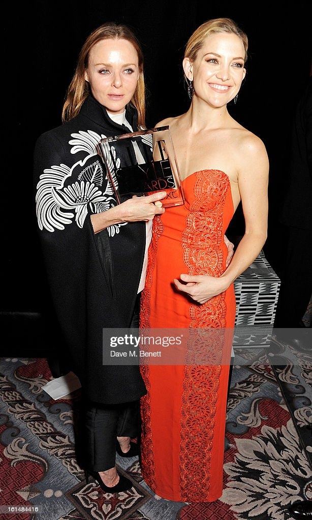 Best International Designer winner Stella McCartney (L) and Kate Hudsdon pose in the press room at the Elle Style Awards at The Savoy Hotel on February 11, 2013 in London, England.