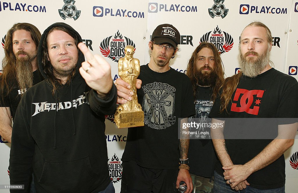 Best Live Band, <a gi-track='captionPersonalityLinkClicked' href=/galleries/search?phrase=Lamb+of+God+-+Banda&family=editorial&specificpeople=207713 ng-click='$event.stopPropagation()'>Lamb of God</a> during Metal Hammer Golden Gods 2007 - Press Room Boards at Koko in London, Great Britain.