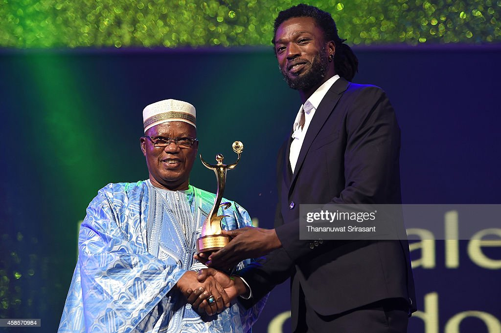 Best Male Team of London 2012 award, Team France Handball <a gi-track='captionPersonalityLinkClicked' href=/galleries/search?phrase=Daouda+Karaboue&family=editorial&specificpeople=853768 ng-click='$event.stopPropagation()'>Daouda Karaboue</a> celebrates during 1st ANOC Gala awards at Bangkok ANOC 2014 on November 7, 2014 in Bangkok, Thailand.