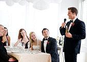 Best man giving speech at wedding