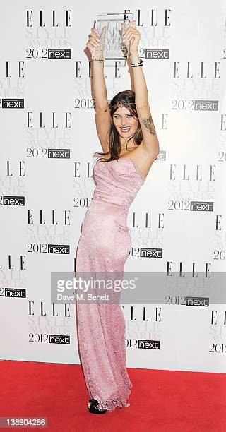 Best Model winner Isabeli Fontana poses in the press room at the ELLE Style Awards at The Savoy Hotel on February 13 2012 in London England