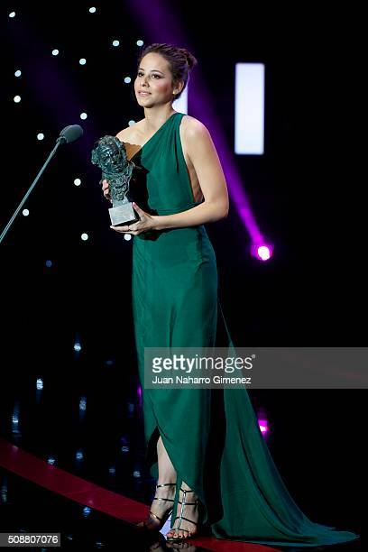 Best new actress Irene Escolar attends the 30th edition of the 'Goya Cinema Awards' ceremony at Madrid Marriott Auditorium on February 6 2016 in...
