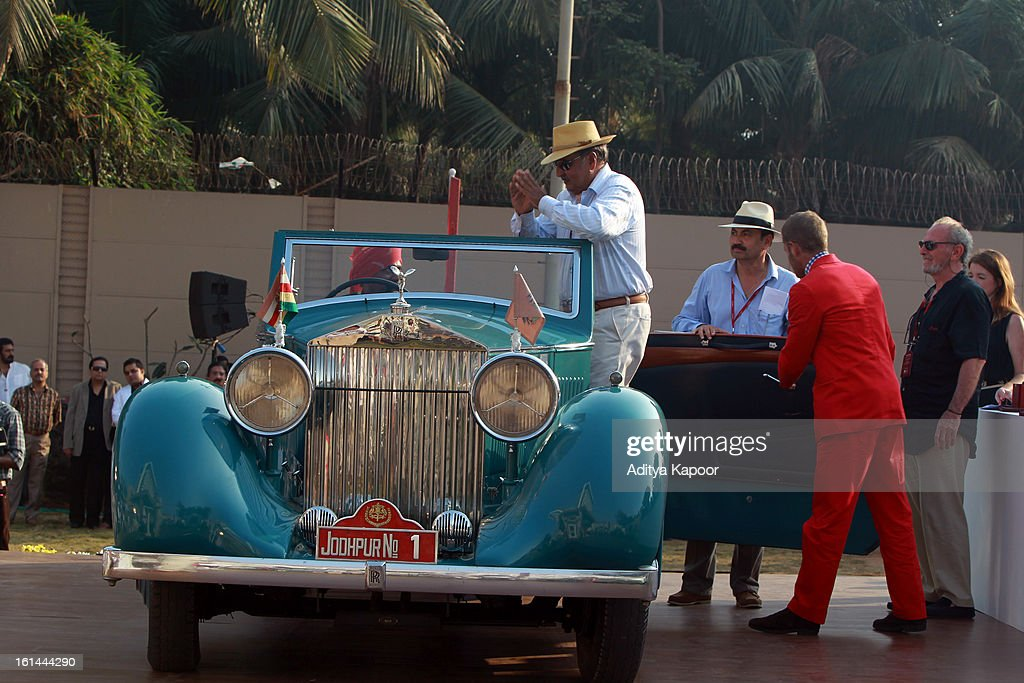 Best of show winner the 1935 Rolls Royce Phantom II with HH Maharaja Gaj Singhji of Jodhpur at the Cartier 'Travel With Style' Concours 2013 Opening at Taj Lands End on February 10, 2013 in Mumbai, India.