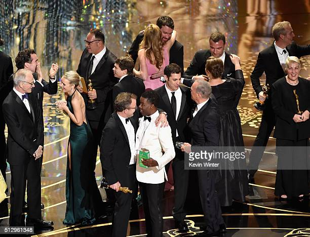 Best Picture winner 'Spotlight' cast and crew including actress Rachel McAdams producer Michael Sugar director Tom McCarthy screenwriter Josh Singer...