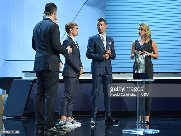 Best Player in Europe Award nominees Antoine Griezmann and Christiano Ronaldo on stage before the presentation during the ECF Season Kick Off 2016/17...
