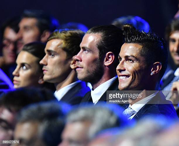 Best Player in Europe Award nominees Antoine Griezmann Gareth Bale and Christiano Ronaldo during the UEFA Champions League draw on August 25 2016 in...