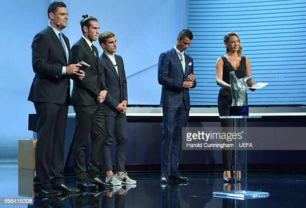 Best Player in Europe Award nominees Gareth Bale Antoine Griezmann and Christiano Ronaldo on stage before the presentation during the ECF Season Kick...