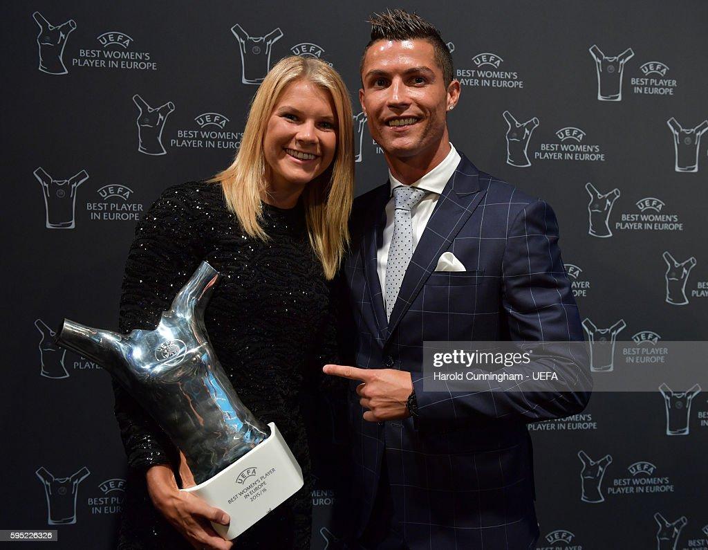 Best Player in Europe Award winner Christiano Ronaldo and UEFA Best Women's Player in Europe Award winner Ada Hegerberg pose during the ECF Season...