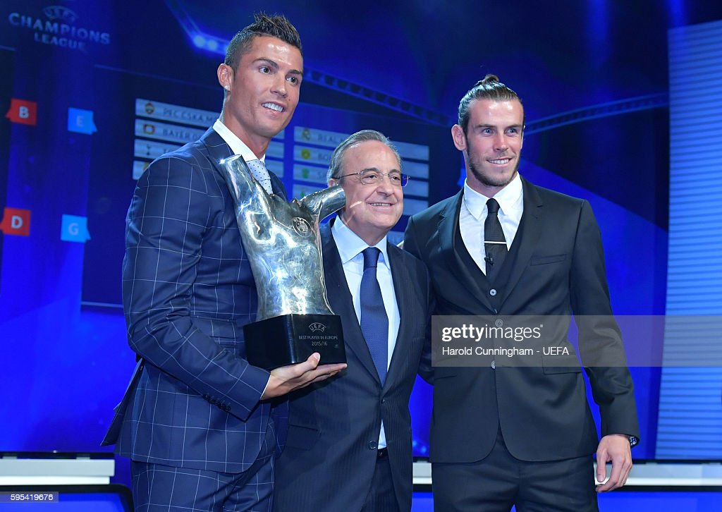 Best Player in Europe Award winner Christiano Ronaldo and UEFA Best Player in Europe Award nominee Gareth Bale on stage during the ECF Season Kick...