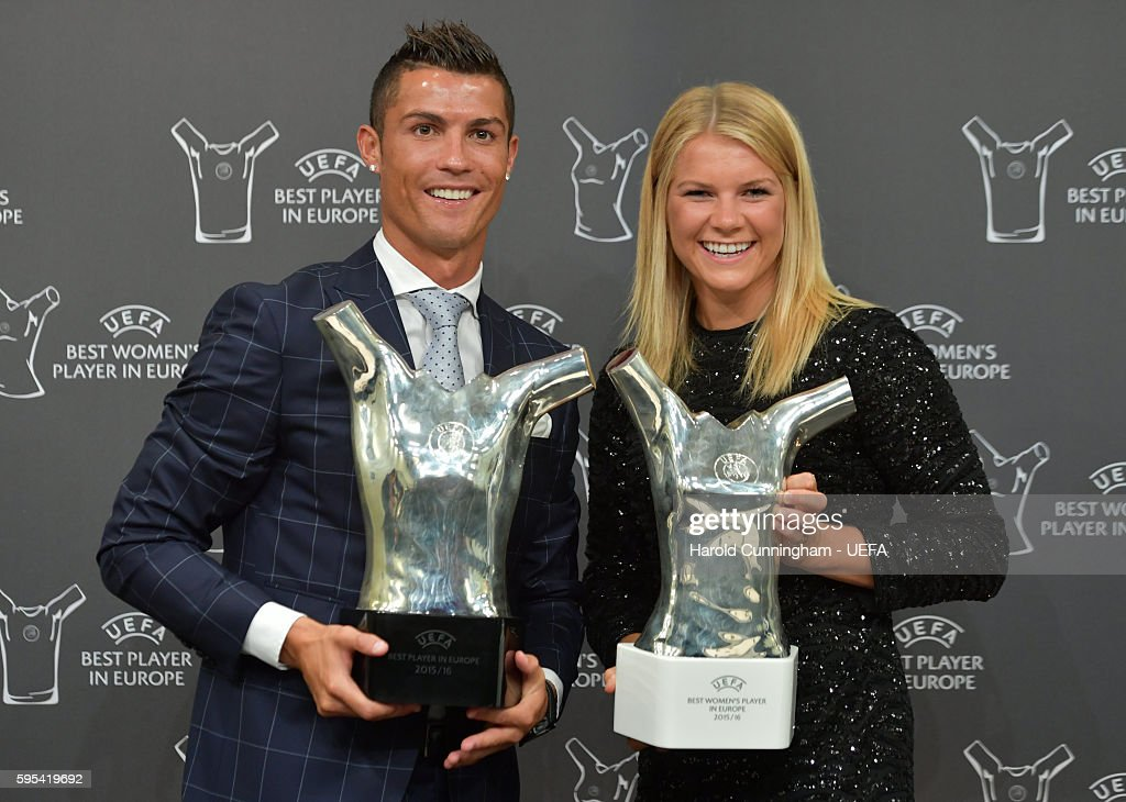 Best Player in Europe Award winner Christiano Ronaldo and UEFA Best Womens Player in Europe Award winner Ada Hegerberg during the ECF Season Kick Off...