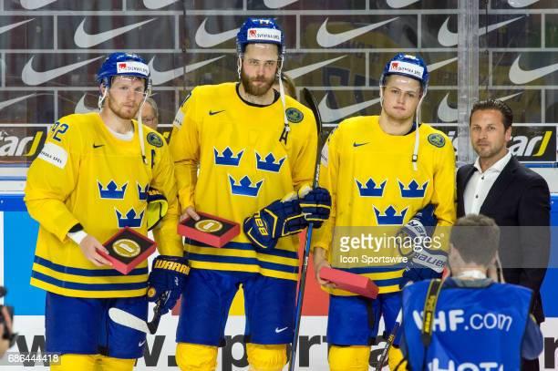 Best players of team Sweden from left Gabriel Landeskog #77 Victor Hedman and William Nylander during the Ice Hockey World Championship Semifinal...