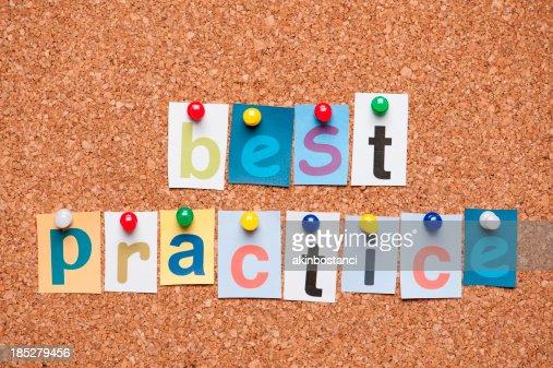 Best Practice letters on corkboard