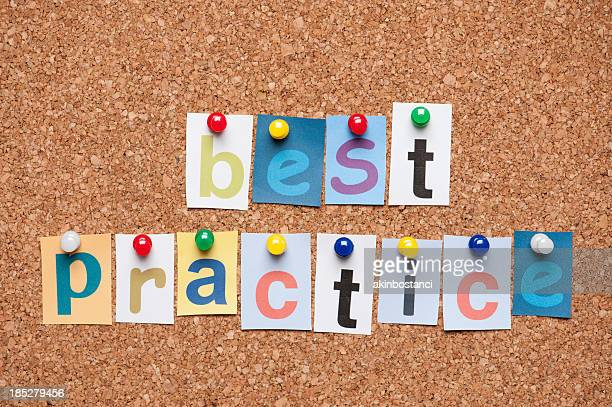 Best Practice letters on corkboard