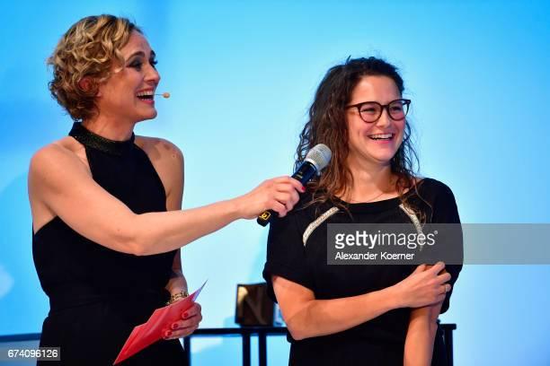 'Best Reportage Photography' Award Winner Bieke Depoorter and Caren Miosga speak on stage at the Nannen Award 2017 on April 27 2017 in Hamburg Germany