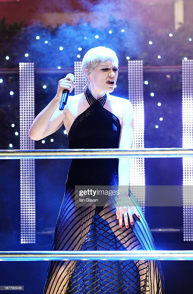 Best selling artist <a gi-track='captionPersonalityLinkClicked' href=/galleries/search?phrase=Jessie+J&family=editorial&specificpeople=5737661 ng-click='$event.stopPropagation()'>Jessie J</a> performs at the switching on of the Oxford Street Christmas lights at Selfridges with James Arthur and Conor Maynard to crowd 10,000 at Oxford Street on November 12, 2013 in London, England.