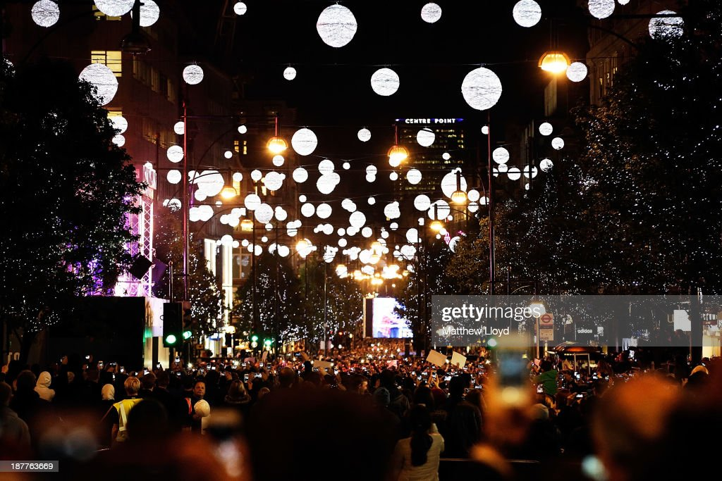 Best selling artist Jessie J switches on the Oxford Street Christmas lights at Selfridges with James Arthur and Conor Maynard to crowd 10,000 at Oxford Street on November 12, 2013 in London, England.