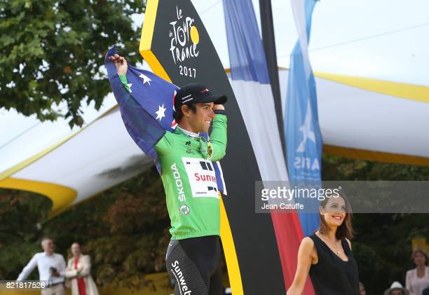 Best Sprinter Michael Matthews of Australia and Team Sunweb during the trophy ceremony following stage 21 of the Tour de France 2017 a 103km race...