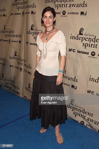 Best Supporting Female winner CarrieAnne Moss backstage at the 2002 IFP/West Independent Spirit Awards at the beach in Santa Monica CA March 23 2002...