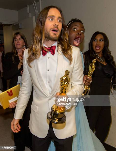 Best Supporting Jared Leto pose backstage with Best Supporting Actress winner Lupita Nyong'o during the Oscars held at Dolby Theatre on March 2 2014...