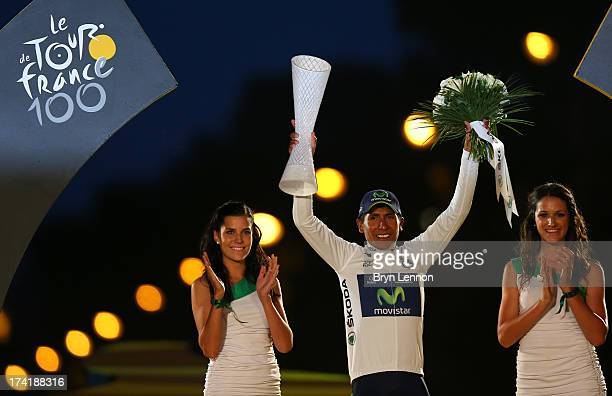 Best Young Rider and winner of the White Jersey and also King of the Mountain Polka Dot Jersey Nairo Quintana of Colombia and Movistar Team...