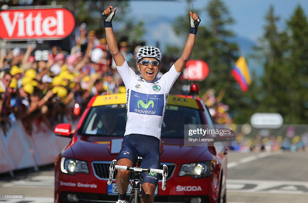 Best young rider Nairo Quintana of Colombia and Movistar Team celebrates winning stage twenty of the 2013 Tour de France, a 125KM road stage from Annecy to Annecy-Semnoz, on July 20, 2013 in Annecy, France.