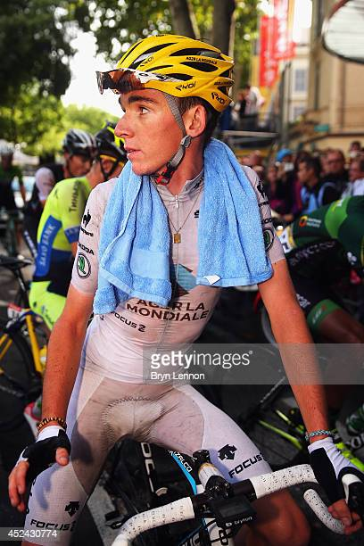 Best Young Rider Romain Bardet of France and AG2R La Mondiale looks on at the finish of the fifteenth stage of the 2014 Tour de France a 222km stage...