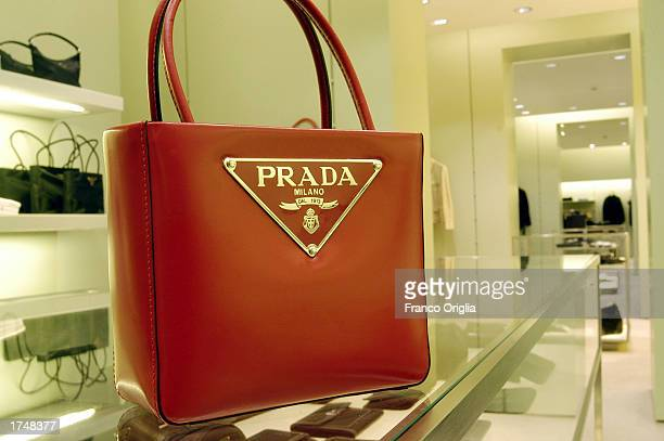 A bestseller handbag is on display inside the Prada store on Via Condotti January 20 2003 in Rome Italy