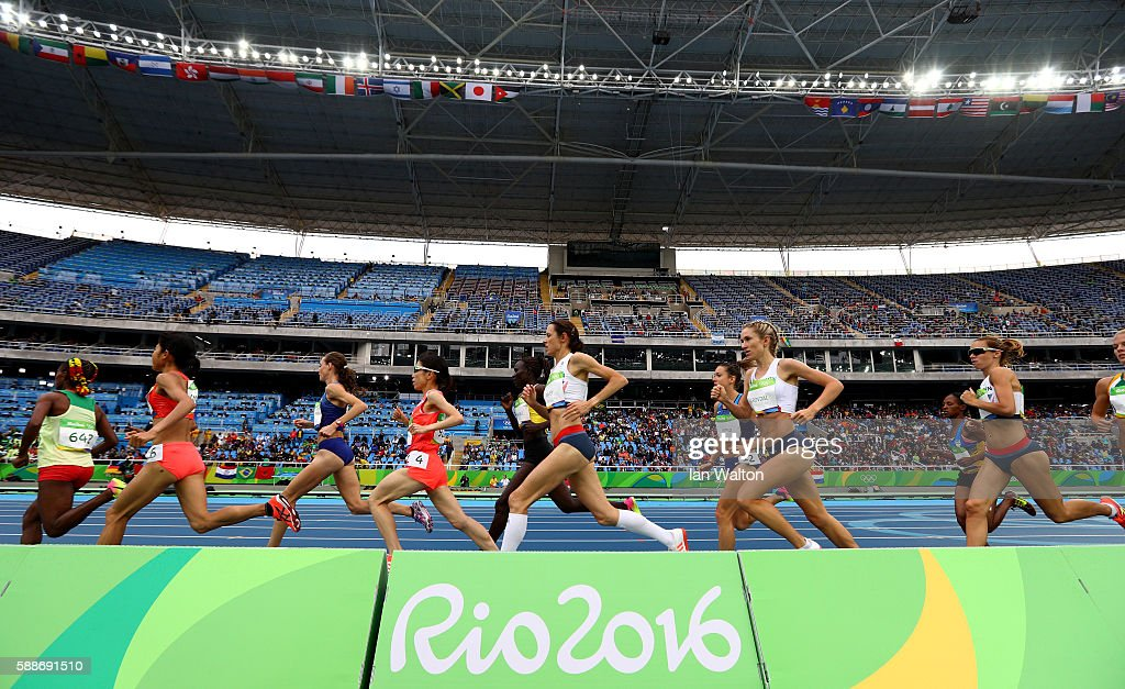 Besu Sado of Ethiopia leads a group in the Women's 10000 metres final on Day 7 of the Rio 2016 Olympic Games at the Olympic Stadium on August 12 2016...