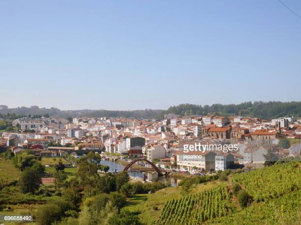 Betanzos. Elevated view of the ancient city of Betanzos, crossed by the river Mandeo