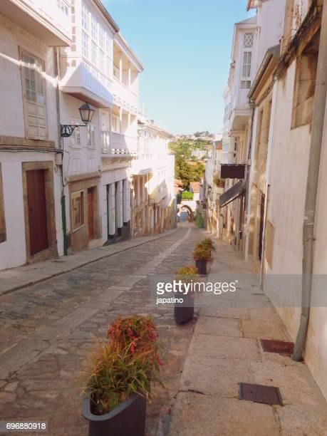 Betanzos. Typical narrow street of the city that ends at one of its entrance doors