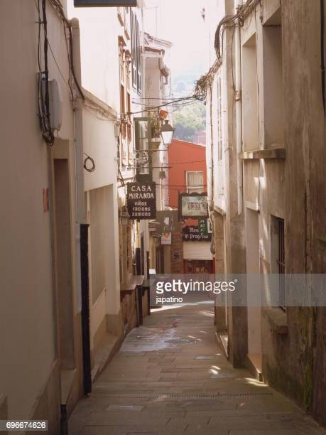 Betanzos. Typical narrow streets in the old town full of bars and restaurants