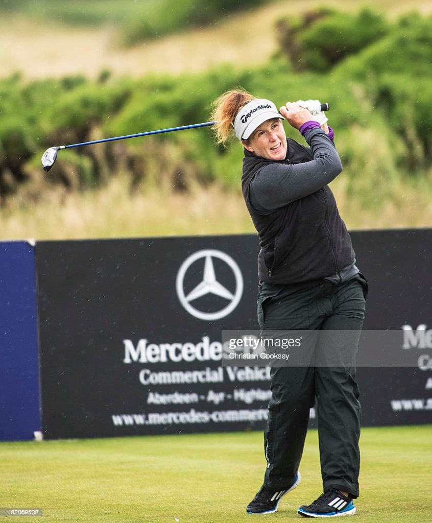 Beth Allen of the United States tees off on the 17th during the Aberdeen Asset Management Scottish Ladies Open at Dundonald Links Golf Course on July 26, 2015 in Troon, Scotland.