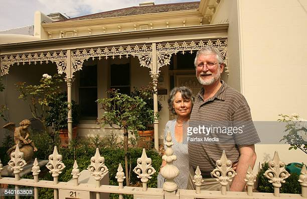 Beth and Ian Gaudion with their dog Monty at their Richmond Hill house 18 January 2007 SUNDAY AGE DOMAIN Picture by PAT SCALA
