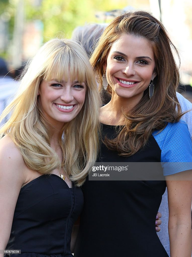 Beth Behrs and Maria Menounos are seen at The Grove on February 28, 2013 in Los Angeles, California.