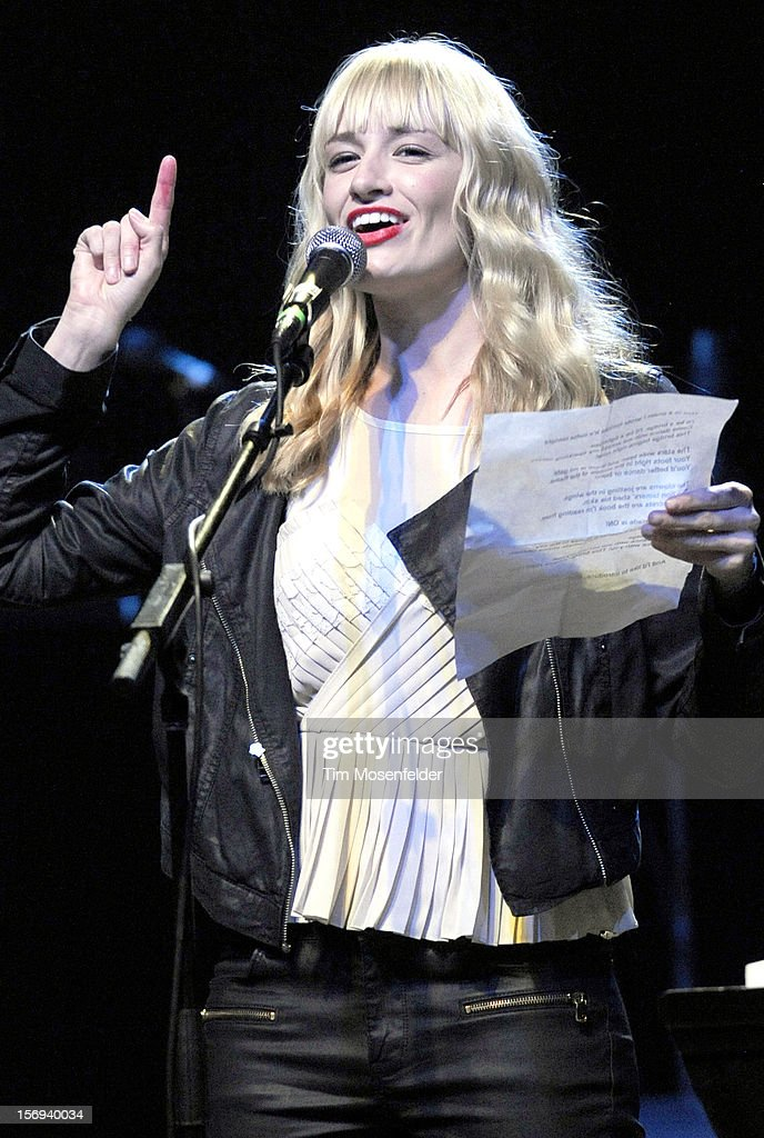 Beth Behrs performs spoken word during The Last Waltz Tribute Concert at The Warfield on November 24, 2012 in San Francisco, California.