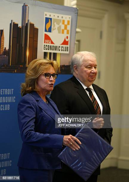 Beth Chappell president CEO of the Detroit Economic Club stands with Sergey Kislyak Ambassador of the Russian Federation to the US during a meeting...