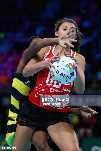 Beth Cobden of England gathers the ball during the Fast5 World Series Netball match between Jamaica and England at Hisense Arena on October 29 2017...