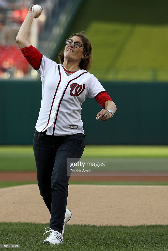 Beth Cobert, Acting Director of the U.S. Office of Personnel Management throws out a ceremonial first pitch before the New York Mets plays the Washington Nationals at Nationals Park on May 24, 2016 in Washington, DC.