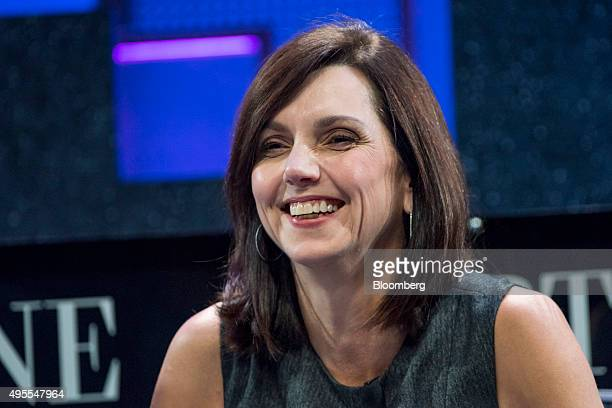 Beth Comstock vice chair of General Electric Co reacts during the 2015 Fortune Global Forum in San Francisco California US on Tuesday Nov 3 2015 The...
