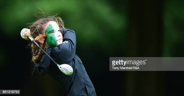 Beth Coulter of Ireland plays her first shot on the 17th tee during The Ladies' and Girls' Home Internationals at Little Aston Golf Club on August 11...