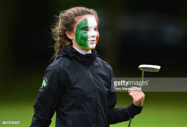 Beth Coulter of Ireland smiles as she wins her match against Emily Price of England during The Ladies' and Girls' Home Internationals at Little Aston...