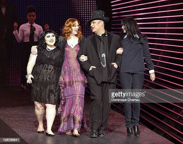 Beth Ditto Karen Elson Boy George and Alison Mosshart attend the Etam Fashion Show Spring/Summer 2011 Collection Launch at Grand Palais on January 24...