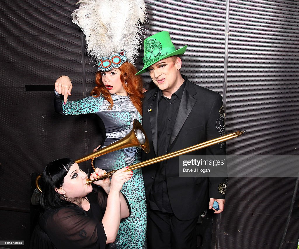 L-R Beth Ditto, Paloma Faith and Boy George pose backstage at the Keep a Child Alive Black Ball 2011 at Camden Roundhouse on June 15, 2011 in London, England.