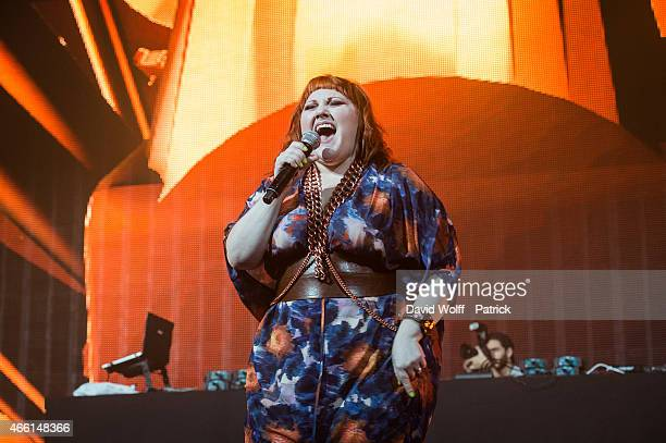 Beth Ditto performs during Electro Shock Virgin Party at Zenith de Paris on March 13 2015 in Paris France