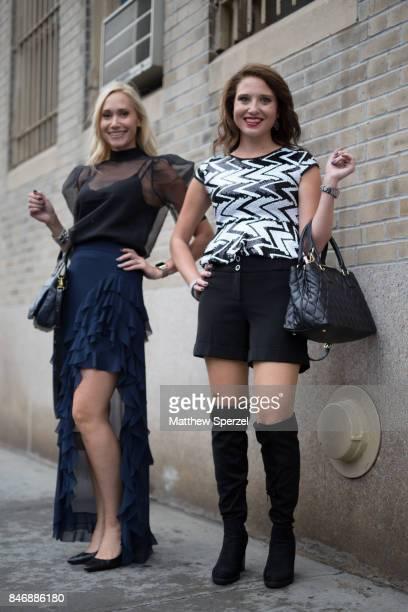Beth Fraiser Ashley Rutlidge are seen attending Marchesa during New York Fashion Week wearing Alice Olivia on September 13 2017 in New York City