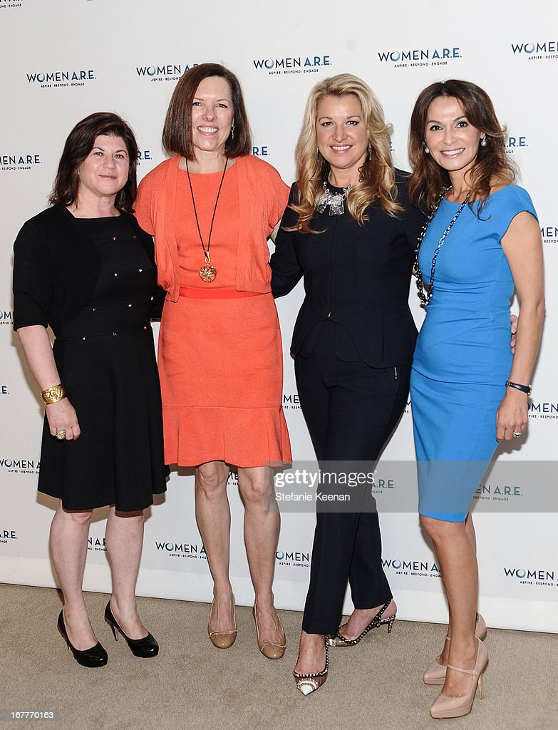Beth Friedman, Ann Colgin, Mindy Grossman and Angella Nazarian attend Women A.R.E. Salon Event Featuring Home Shopping Network's CEO Mindy Grossman at SLS Hotel on April 29, 2013 in Beverly Hills, California.
