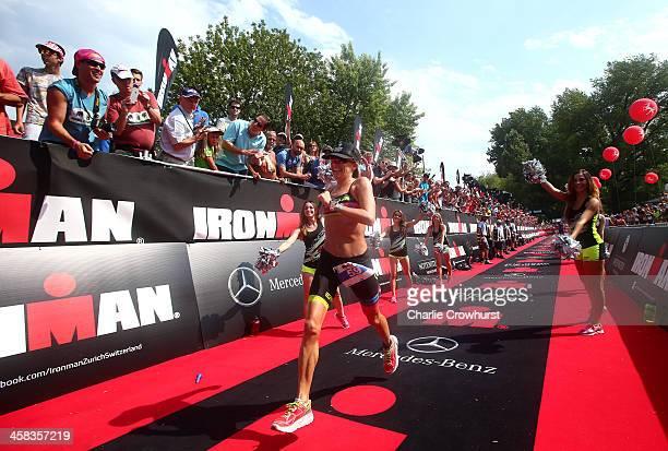 Beth Gerdes of America celebrates winning the womens race during Ironman Zurich on July 19 2015 in Zurich Switzerland